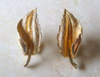 Vintage Curled Leaf Clip On Earrings By Jewelcraft